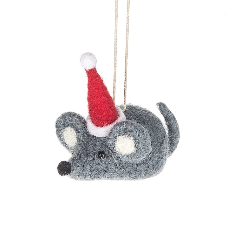 Santa Mouse Wool Christmas Holiday Ornament - Mellow Monkey