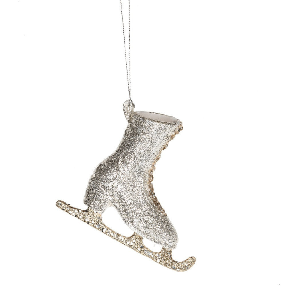 Silver Tone Filigree Ice Skate Acrylic Christmas Ornament Figurine - Mellow Monkey  - 1