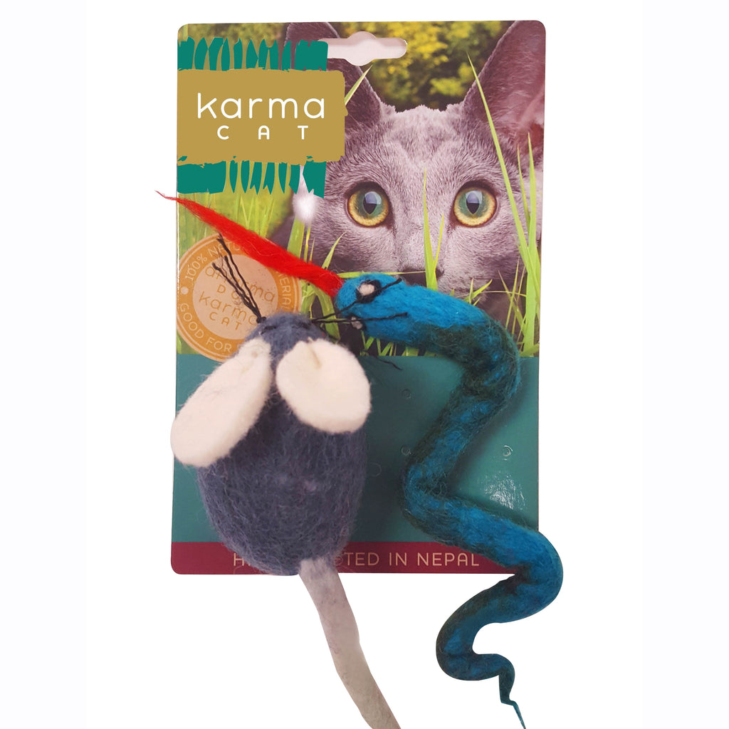 Snake and Mouse Wool Cat Toy - Pack of 2