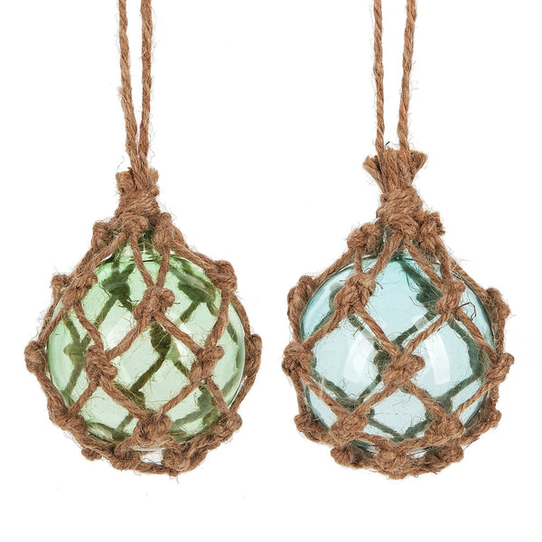 Jute Wrapped Coastal Marine Glass Ornament
