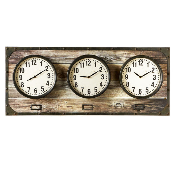 Horizontal Time Zone Wall Clock - 35-7/8-in