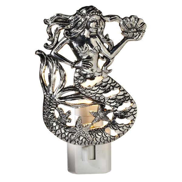 Silver Mermaid Night Light