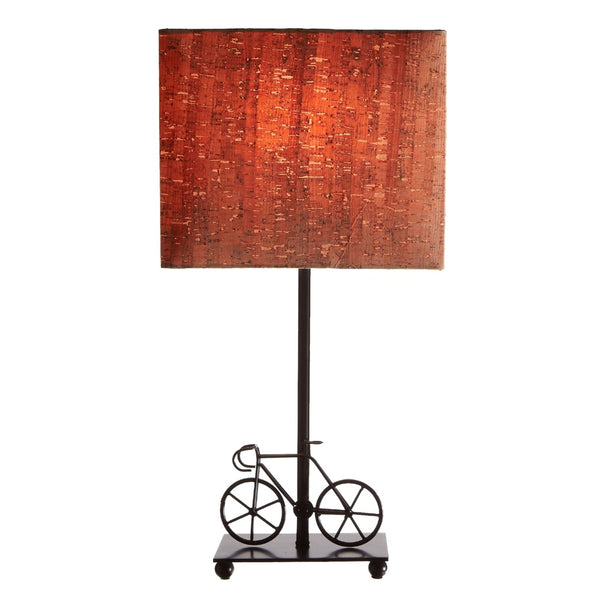 Bicycle Accent Lamp with Cork Shade | 18-5/8-in