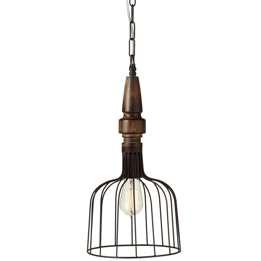 Vintage Finial Pendant with Wire Shade | 18-in