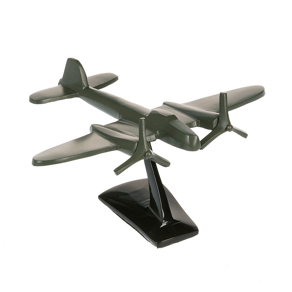 Vintage Green Metal Twin Propeller Plane on Stand | 8-3/4-in