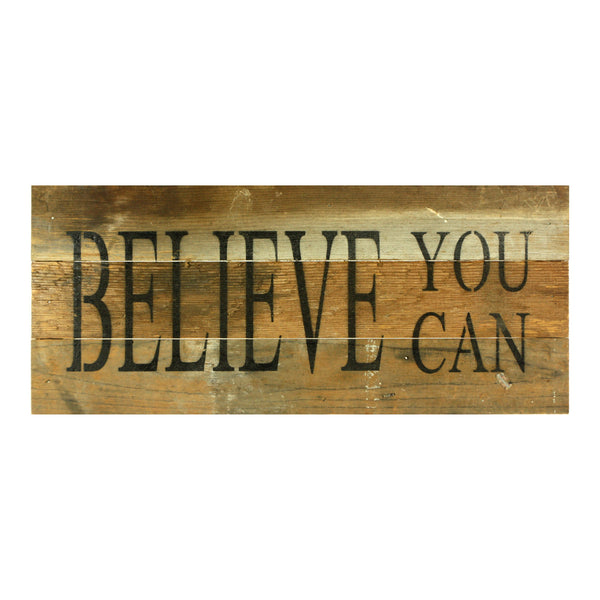 Believe You Can - Reclaimed Wood Art Sign 14-in x 6-in - Mellow Monkey