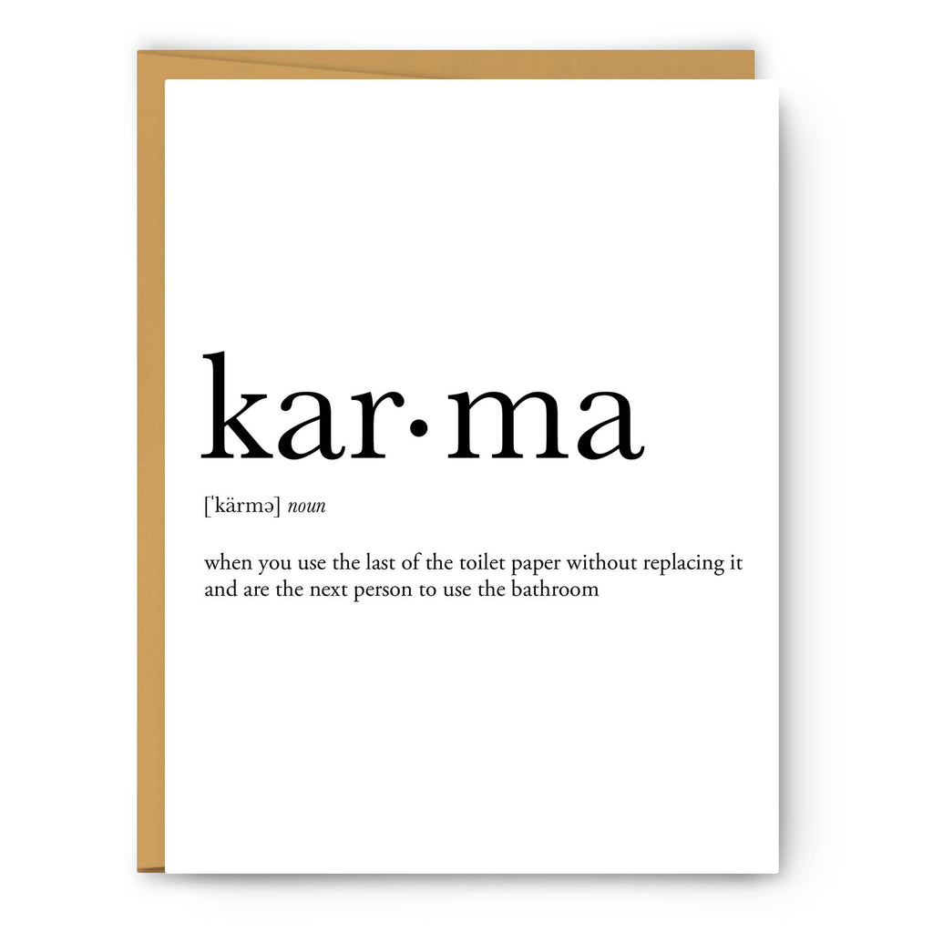 Footnotes - Karma Definition - Greeting Card