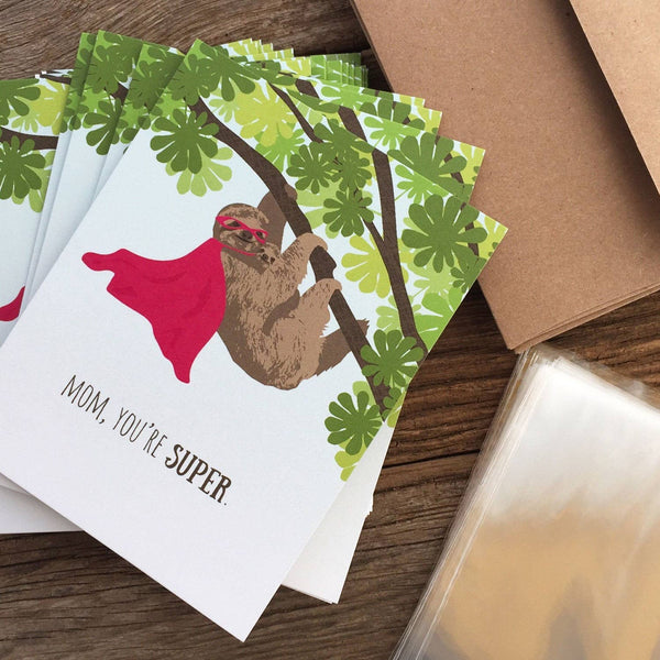 Mom, You're Super - Sloth With Super Hero Cape - Mother's Day Greeting Card