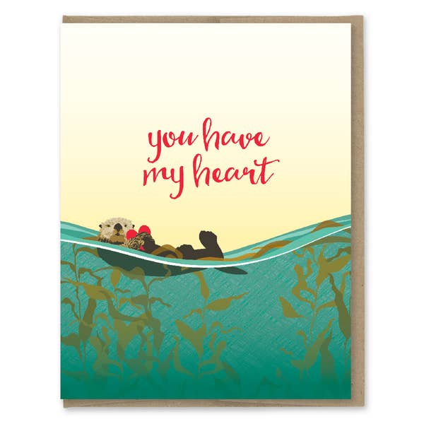 You Have My Heart Sea Otter - Greeting Card