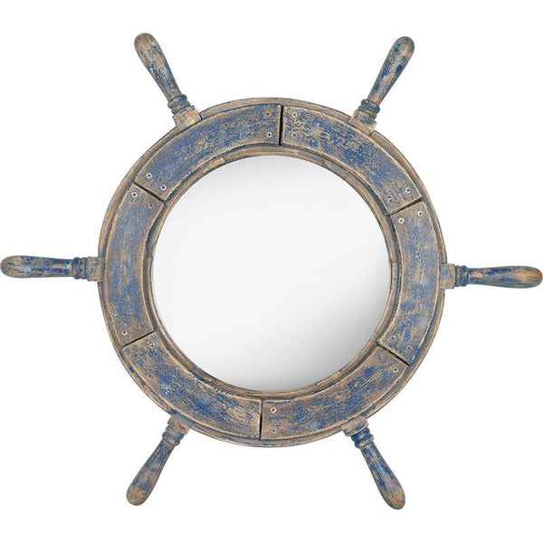 Ship's Wheel Mirror - Blue
