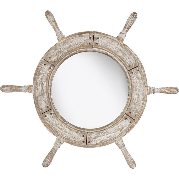 Ship's Wheel Mirror - White