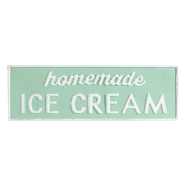 Mint & White Enamel Homemade Ice Cream Wall Decor 17-3/4-in