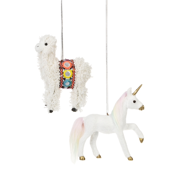 Unicorn and Llama  - Holiday Ornament