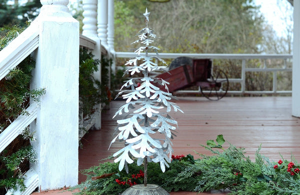 Large Washed Tin Flake Freestanding Decorative Tree - 28-1/3-in