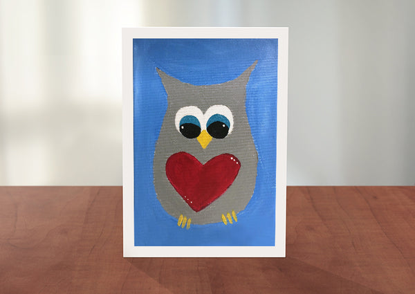 Owl with Heart Greeting Card
