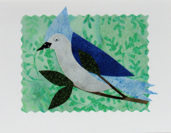 Blue Jay Card - Hand Made Fabric and Paper Greeting Card