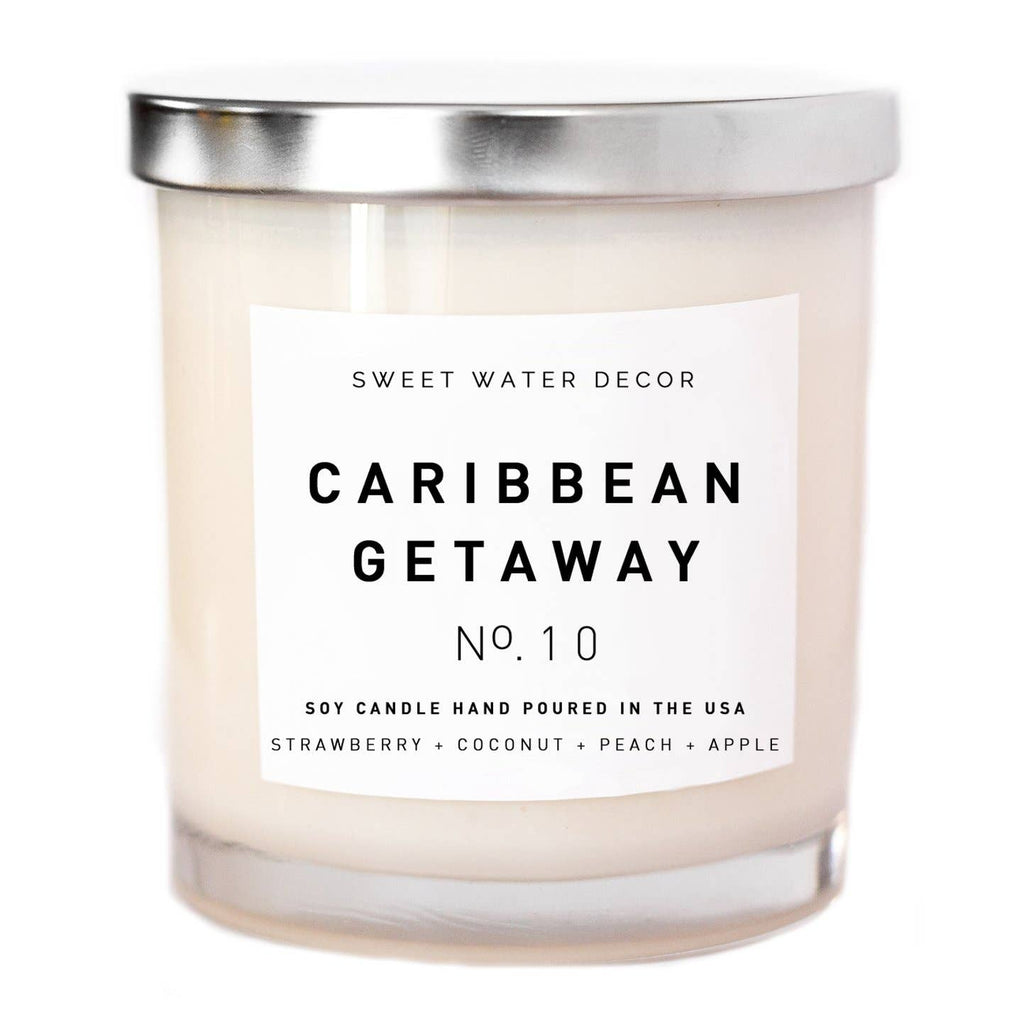 Caribbean Getaway Soy Candle - White Jar Candle