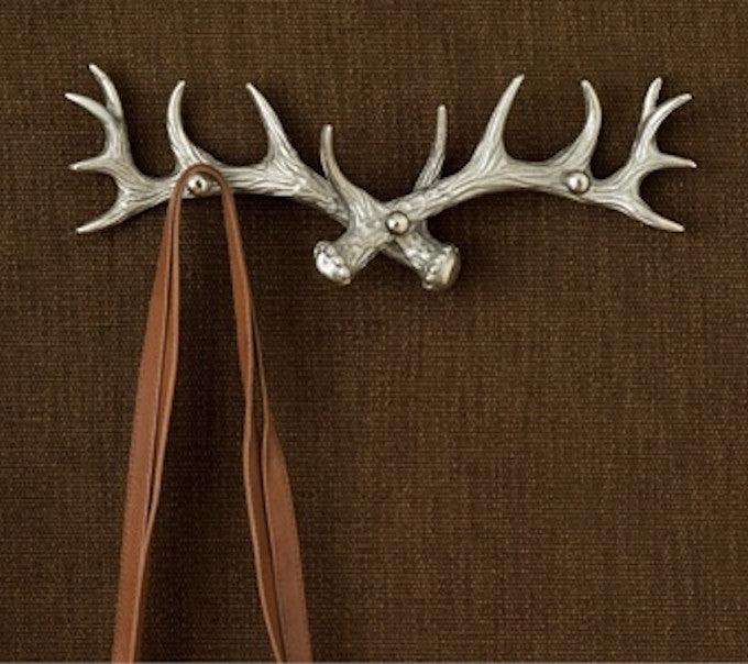Antler Three Arm Coat Hook 16-in - Brushed Aluminum - Mellow Monkey