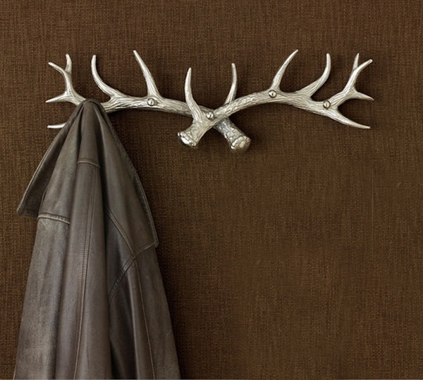 Antler Five Arm Coat Hook 24-in - Brushed Aluminum - Mellow Monkey