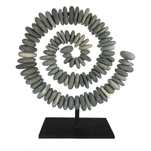 River Rock Free Standing Stone Spiral Sculpture - 20-in