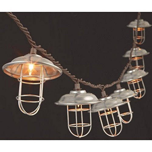 Silver Metal Cage Patio String Lights Clear Bulbs - Mellow Monkey