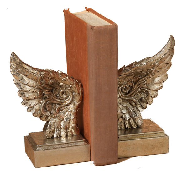 Angel Wing Library Bookend Set - 8-1/4-in - Mellow Monkey