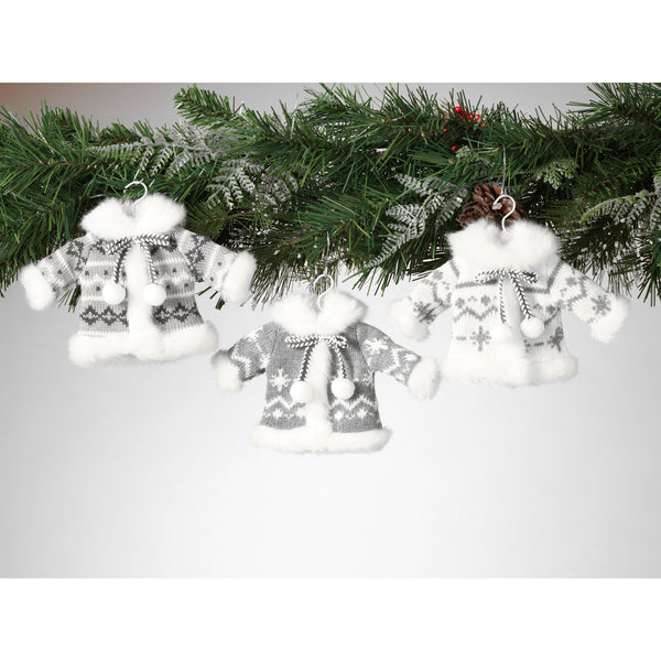 Set of 3 Knit Fabric Sweater Coat Ornaments - Grey and White 8-in - Mellow Monkey  - 2