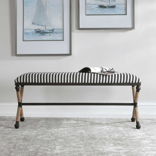 Braddock Cushioned Striped Bench - 48-in