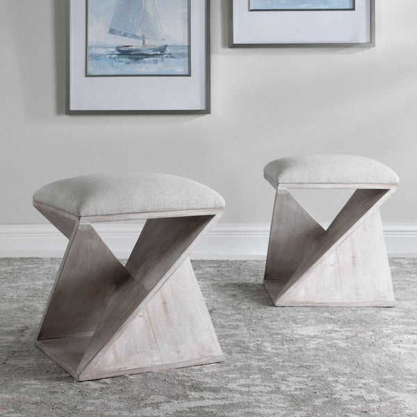 Benue Asymmetrical Coastal Accent Ottomon Stool - 20-in