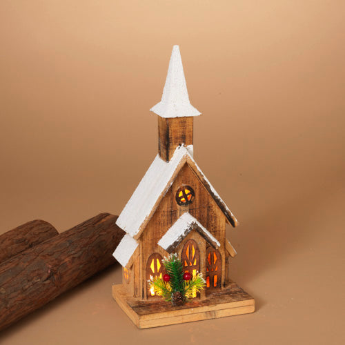 Lighted Wooden Church - 15-1/2-in