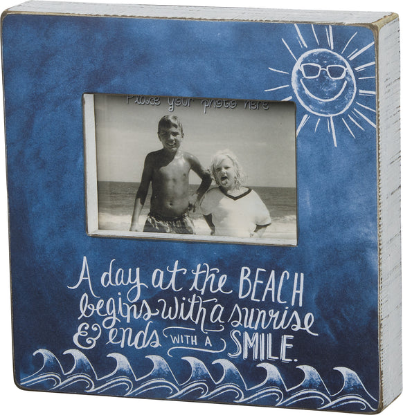 A Day At The Beach Begins With A Sunrise & Ends With A Smile - Chalk Beach Box Photo Frame 10-in Blue for 4x6-in Photo - Mellow Monkey