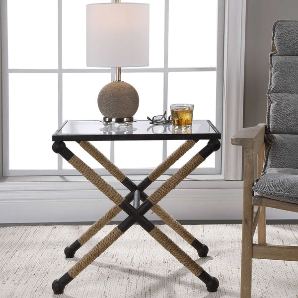 Braddock Metal and Glass Jute Rope Wrapped Coastal Accent Table - 16-in