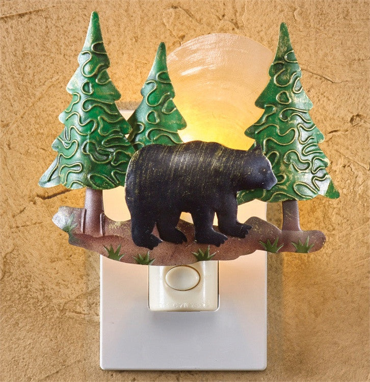 Bear Scenic Night Light with Hand Cut Metal and Luminescent Capiz Shell - Mellow Monkey