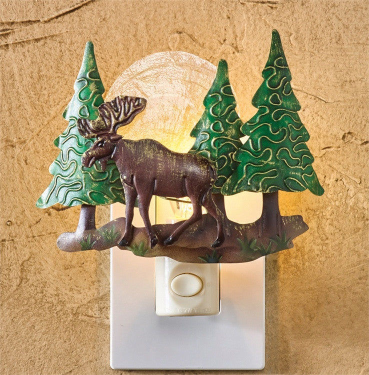 Deer Scenic Night Light with Hand Cut Metal and Luminescent Capiz Shell - Mellow Monkey