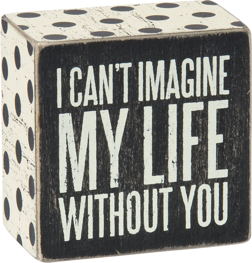 I Can't Imagine My Life Without You - Box Sign 4-in - Mellow Monkey