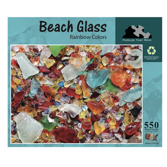Beach Sea Glass Rainbow Colors - Jigsaw Puzzle 550 Piece