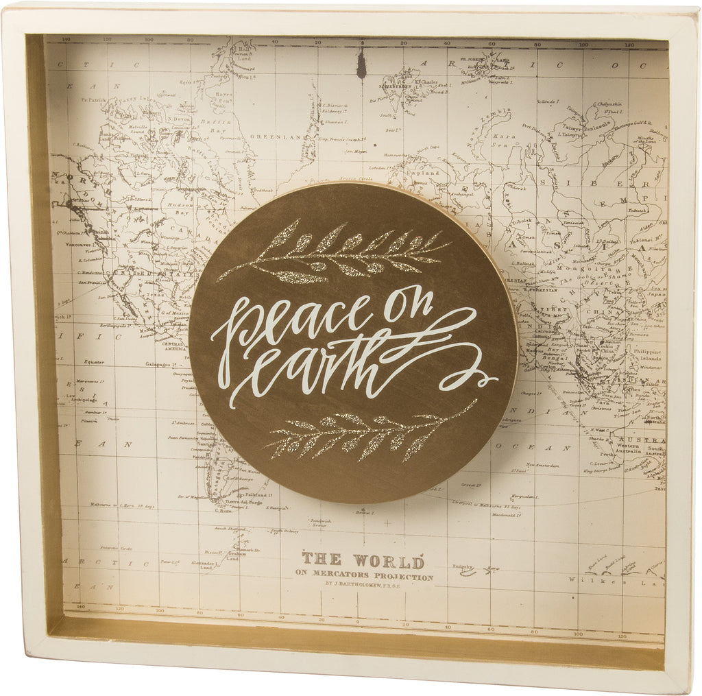 Peace on Earth Wood Shadow Box Sign with Map - 20-in Square - Mellow Monkey