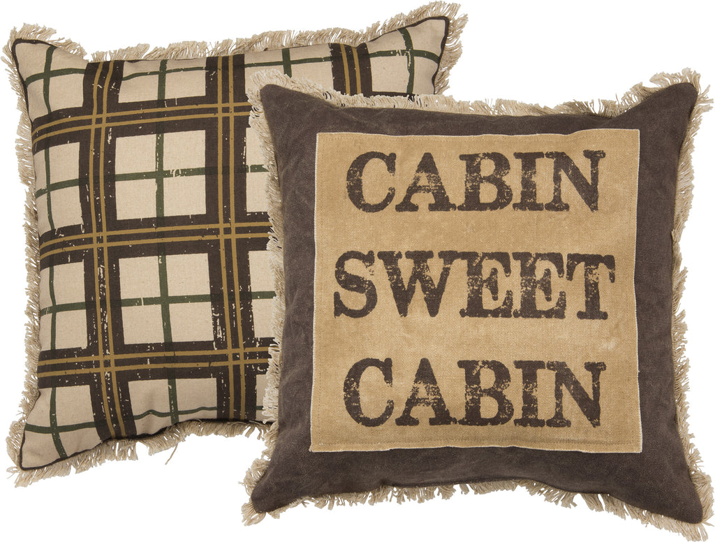 Cabin Sweet Cabin - Cotton Canvas Two Sided Decorative Throw Pillow - 15-in - Mellow Monkey