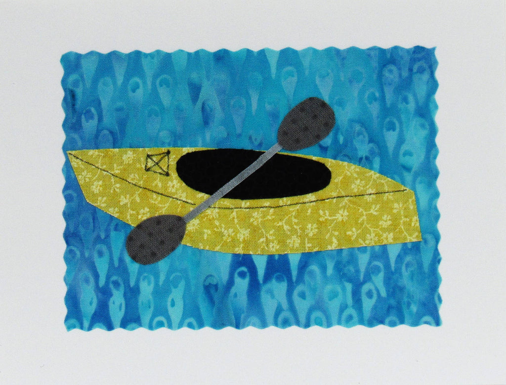 Kayak Card - Hand Made Fabric and Paper Greeting Card