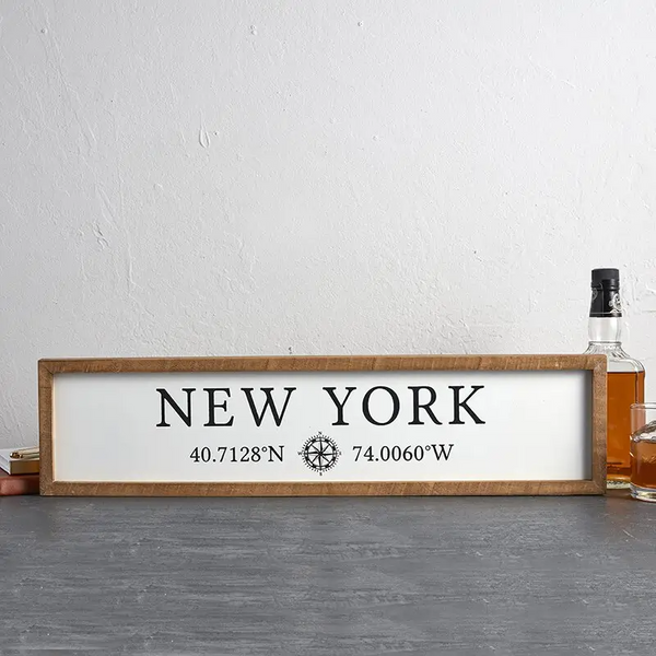 New York - Decorative Wood Frame Wall Sign