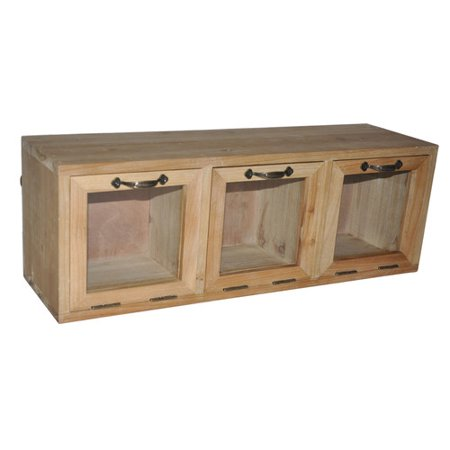 Wood Hanging Cabinet with 3 Glass Doors - 24-in