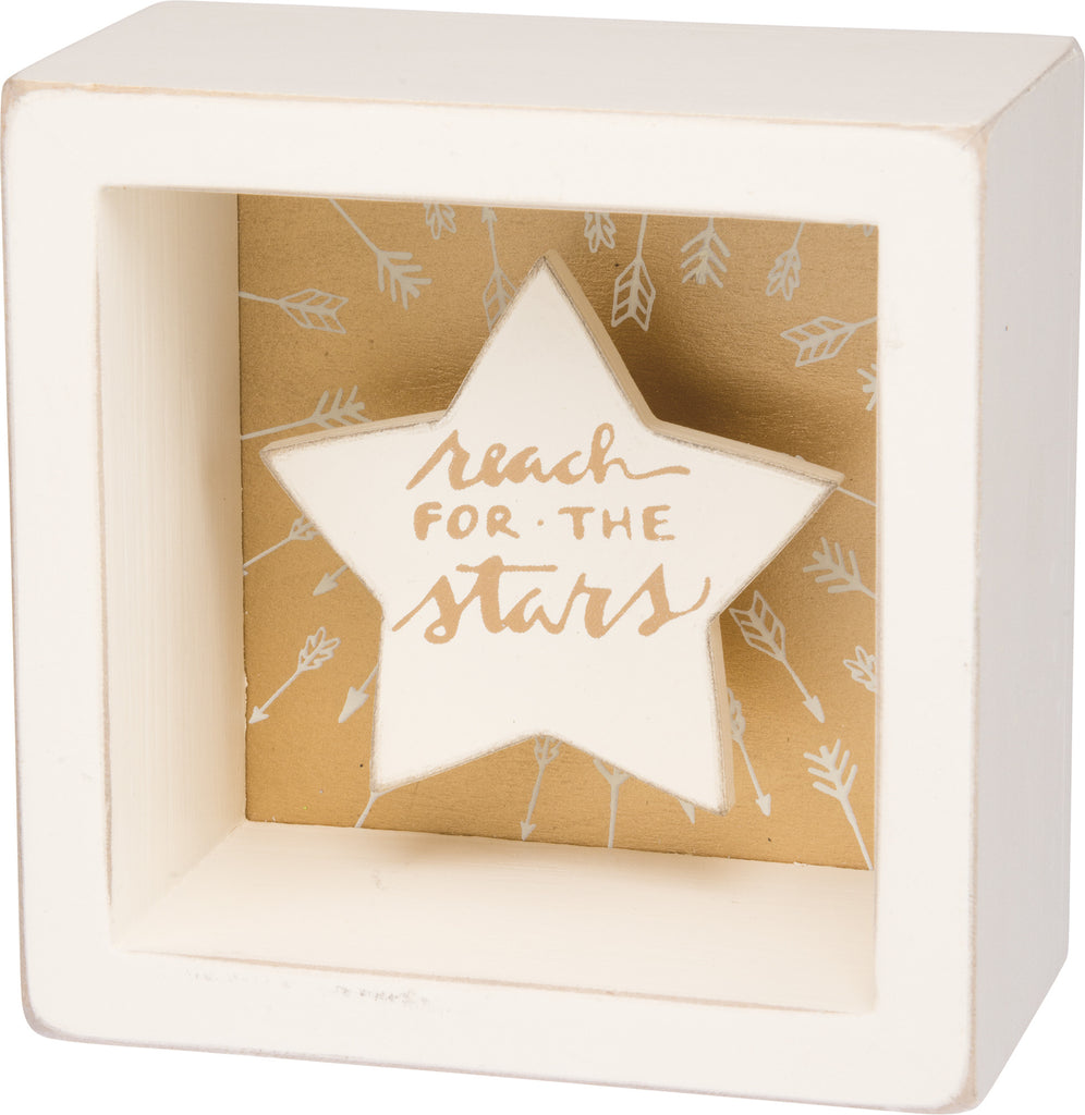 Reach For The Stars - White Star Shadowbox Box Mini Box Sign - 3-1/2-in - Mellow Monkey