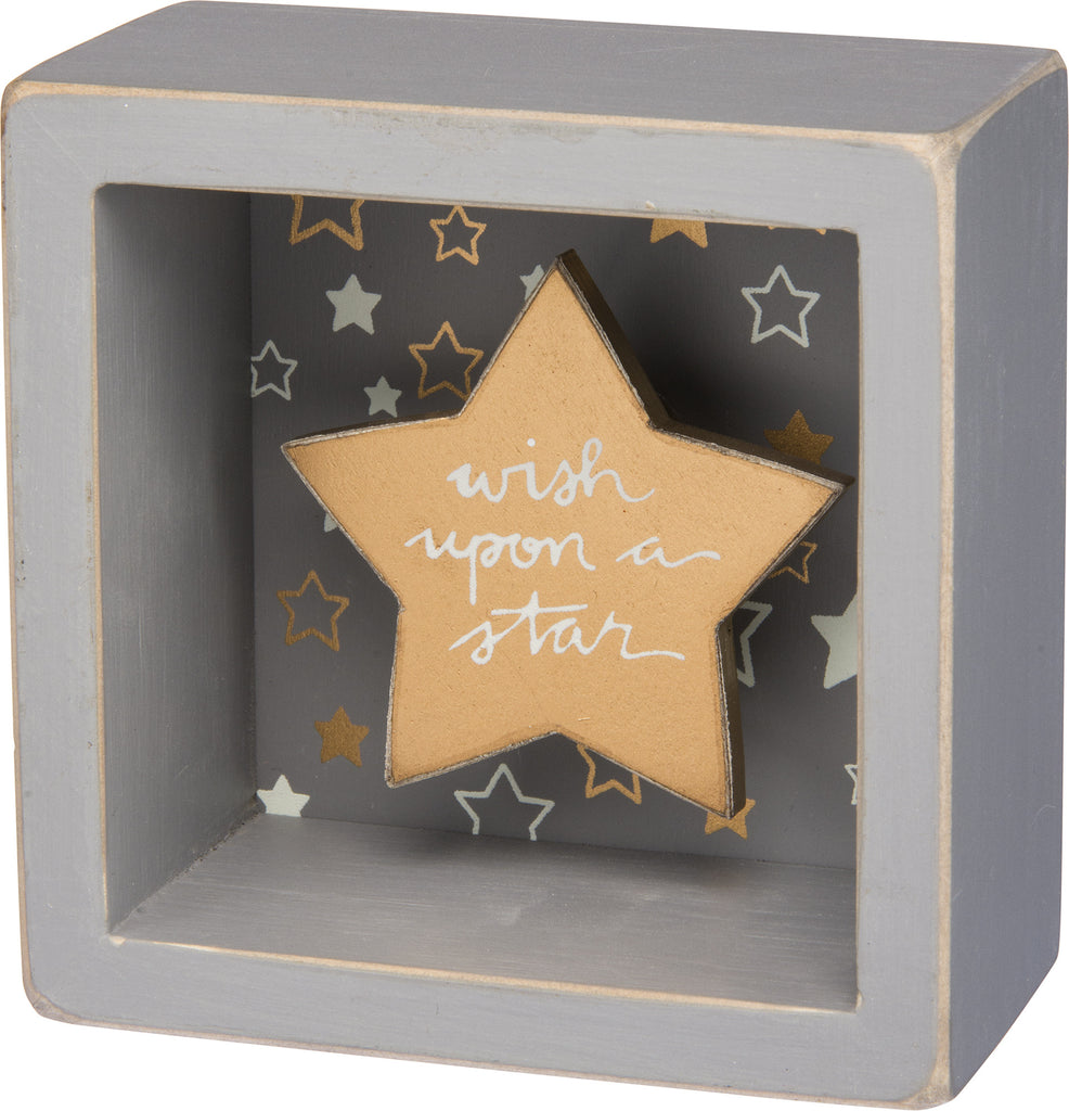 Wish Upon A Star - Gold Star Shadowbox Box Mini Box Sign - 3-1/2-in - Mellow Monkey