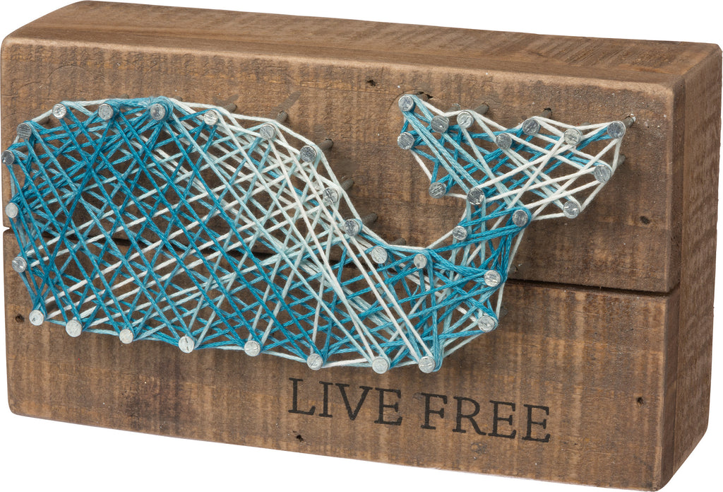 Live Free -Whale String Art Plank Board Box Sign - 6-in - Mellow Monkey