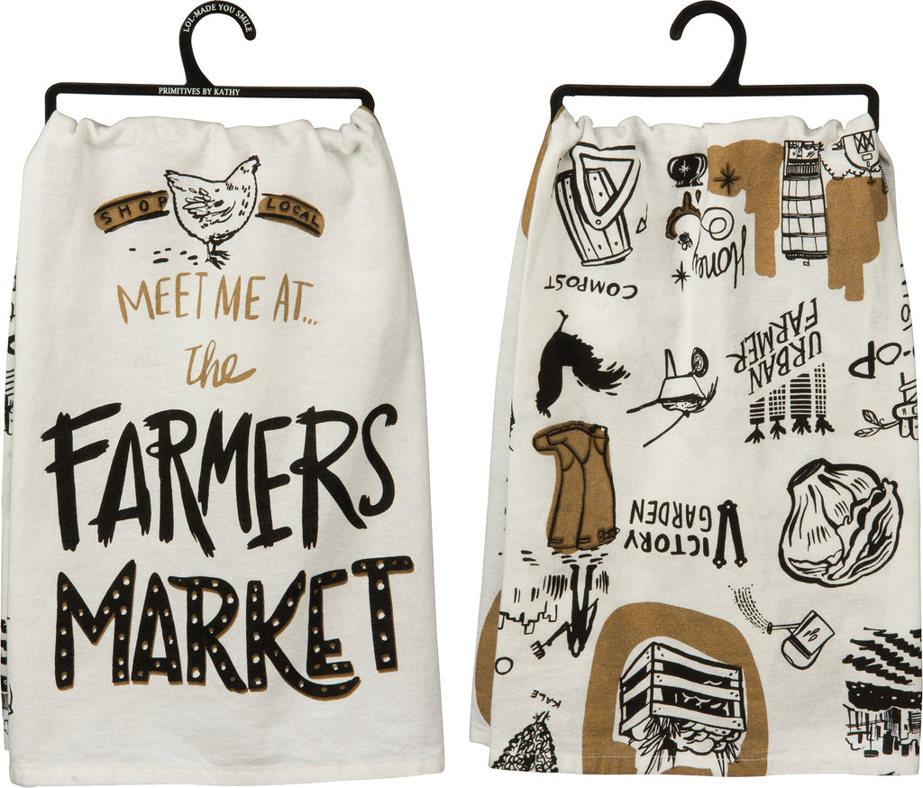 Meet Me At The Farmer's Market - Cotton Kitchen Towel  - 28-in - Mellow Monkey
