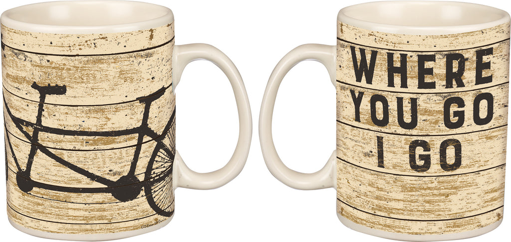 Where You Go I Go - Vintage Travel Themed 20-oz Mug with Tandem Bicycle Built for Two - Mellow Monkey