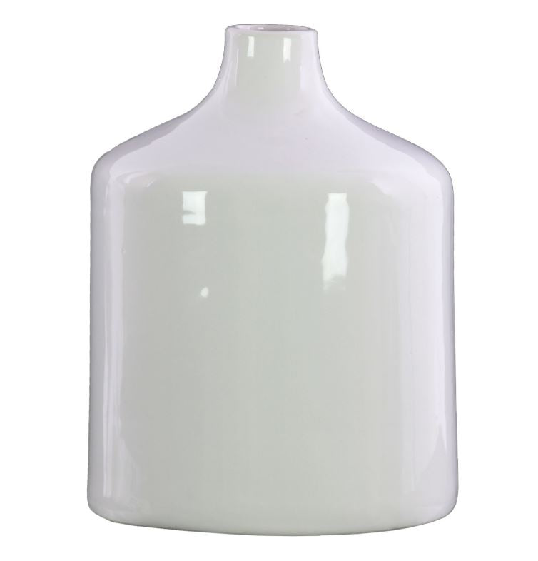 White Gloss Cylindrical Stoneware Bottle Vase with Short Neck  - 9-1/2-in