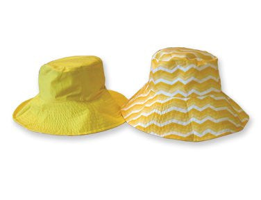 Sun Lily Fashion Flips Reversible Sun Hat with Tote - Womens (Sunshine Chevron) - Mellow Monkey