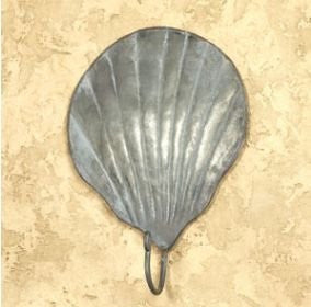 Vintage Tin Scallop Shell Wall Hook for Light Coats, Aprons, Hats, Towels, Pot Holders, More - Mellow Monkey