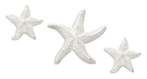 Starfish Sea Star White Cast Iron Ornament Set - 3 - Mellow Monkey